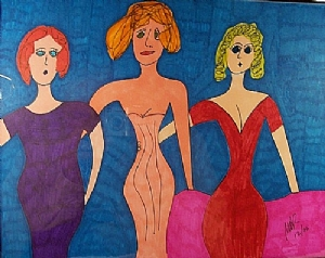"""3 1/2 Little Women"" by Nick Roes Art Markers ~ 14 x 11"