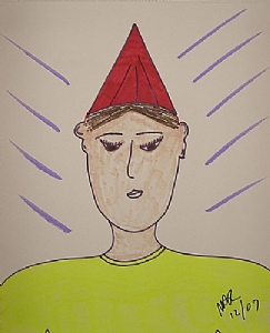"""Birthday Pouty"" by Nick Roes Art Markers ~ 14 x 11"