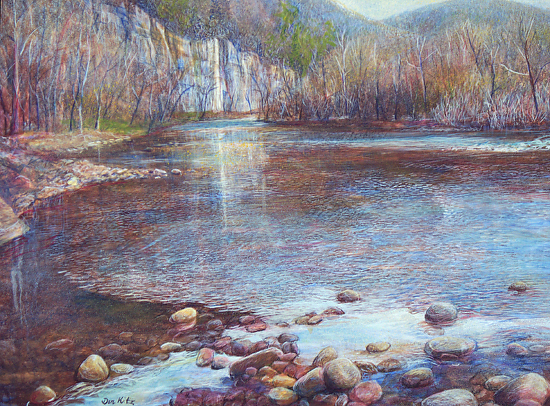 Upstream Above Steel Creek - Egg Tempera