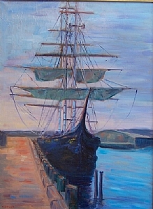 "The Bounty at Gloucester by Fred Kepler Oil ~ 24"" x 18"""