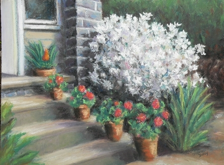 White Azalea Bush by Jeanne Guerin-Daley Pastel ~ 11.5 x 15