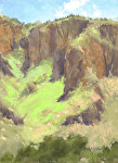 Spring Green Hillside by Lee McVey Pastel ~ 8 x 6