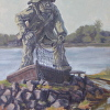 Woodley Island Fisherman Sculpture by Michelle Murphy-Ferguson Oil ~ 14 x 11