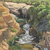 Garrapata Park Waterfall by Michelle Murphy-Ferguson Oil ~ 9 x 12