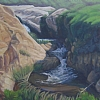 Garrapata Waterfall by Michelle Murphy-Ferguson Oil ~ 24 x 36