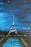 The Eiffel Tower with sparkling stars by Amy Brown Oil ~ 14 x 11