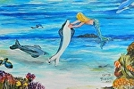 Mermaid tickeling a dolphine by Amy Brown Oil ~ 11 x 14