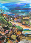 "Under the Pacific Ocean by Amy Brown Oil ~ 40""x x 30'"