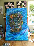 This art will be placed on Tiles for pools,fountains and showers by Amy Brown Oil ~ 4 x 6