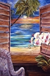 "Caribbean Sunset with Orchids by Amy Brown Oil ~ 40"" x 30"""