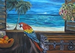 "A Scarlet Macaws Caribbean View by Amy Brown Oil ~ 30"" x 40"""