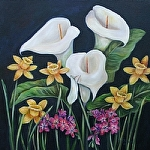 "Calla Lillies with Pink Freesia by Amy Brown Oil ~ 24"" x 24"""