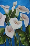 "Calla Lillies with Blue Sky by Amy Brown Oil ~ 16"" x 20"""