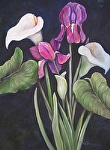 "Purple Iris with Calla Lillie Blossom by Amy Brown Oil ~ 18"" x 24"""