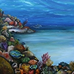 "Tropical Sea suite by Amy Brown Oil ~ 18"" x 18"