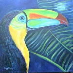 "Toucan by Amy Brown Oil ~ 18"" x 18"""