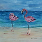 "Pink Flamingos by Amy Brown Oil ~ 18"" x 18"""