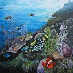 "Clown Triggerfish by Amy Brown Oil ~ 24"" x 24"""