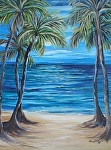 Full Moon with Five Palms by Amy Brown Oil ~ 16 x 12