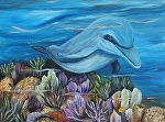 Dolphine Smile by Amy Brown Oil ~ 9 x 12