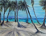Palms in the wind by Amy Brown Oil ~ 11 x 14
