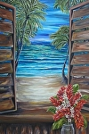 Tropical Shutter with Red Ginger by Amy Brown Oil ~ 40 x 30