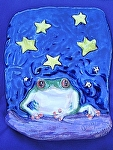 Tree frogs starry night by Amy Brown Clay ~ 10 x 8