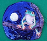 Tree Frog with Full Moon by Amy Brown Clay ~ 9 x 8