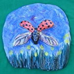 Lady Bug Landing by Amy Brown Clay ~ 8 x 8