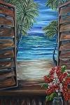 Caribbean Shutters with Red Ginger by Amy Brown Oil ~ 20 x 16