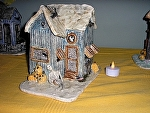 Skeleton and Pumpkin Haunted House by Amy Brown Clay ~ 8 x 8