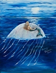 Mermaid floating on a jellyfish by Amy Brown Oil ~ 11 x 14