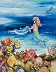 Young Mermaid with dolphine by Amy Brown Oil ~ 14 x 11
