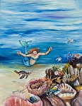 Mermaid with sea turtles first swim by Amy Brown Oil ~ 14 x 11
