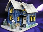 Deep Blue Holiday House by Amy Brown Clay ~ 8 x 7