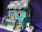 Sea Green Holiday House by Amy Brown Clay ~ 9 x 6