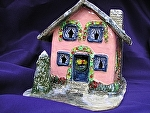 Pink Holiday House by Amy Brown Clay ~ 8 x 10