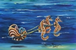 Baby Mermaid in Nautilus Chariot by Amy Brown Acrylic ~ 11 x 14