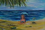 Smiling Young Mermaid with Hatching Sea Turtles by Amy Brown Acrylic ~ 11 x 14