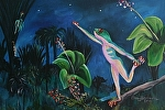 Tree Frog stretching for the stars by Amy Brown Acrylic ~ 11 x 14