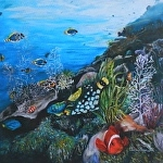 Clowntriggerfish  giclee by Amy Brown Oil ~ 18 x 18