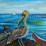 Pelican on the Pier 12x12x original by Amy Brown Oil ~ 12 x 12