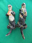 Sea Otters sharing a leg(set) by Amy Brown Clay ~ 8 x 4