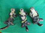 Sea Otters with abalone by Amy Brown Clay ~ 8 x 4