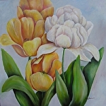"Yellow and White Tulips by Amy Brown Oil ~ 24"" x 24"""