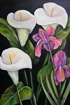 "Calla Lillies with Purple Iris by Amy Brown Oil ~ 18"" x 24"""