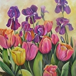 "Tulips with Purples Iris on Ochre Bakground by Amy Brown Oil ~ 24"" x 24"""