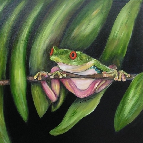 Red Eyed Tree Frog Triptic by Amy Brown Oil ~ 18 x 18