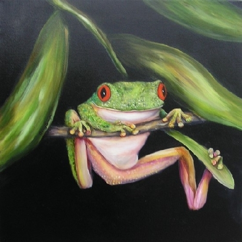 Red Eyed Tree Frog Triptic 3 by Amy Brown Oil ~ 18 x 18