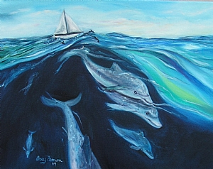 Dolphines riding the waves by Amy Brown Oil ~ 11 x 14